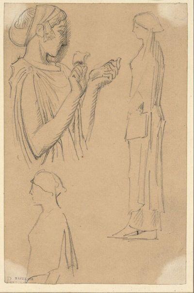 Drei Skizzen nach einer antiken Statue