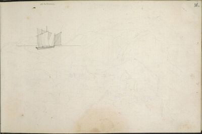 Skizzenbuch: Sehr dünne Umrisse von Capri mit einem Segler in einer Bucht