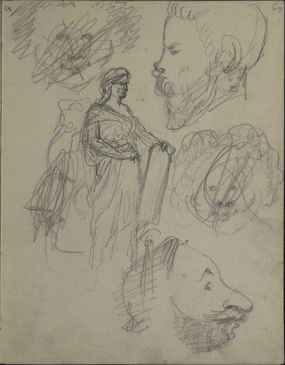Studienblatt: vier karikierte Köpfe, darunter zwei männliche Profile mit Bärten; Statue einer weiblichen Figur mit dem Attribut einer Tafel (? - vielleicht zugehörig zu dem Monument auf p.61)