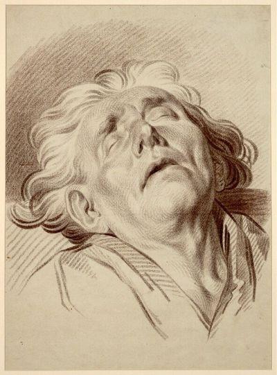 Zurückgebeugter schlafender Männerkopf