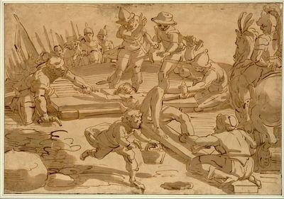 Christus wird von den Schergen ans Kreuz genagelt; im Halbkreis Soldaten, rechts ein Berittener