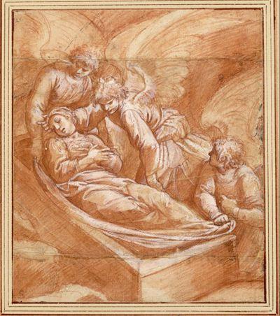 Engel betten den Leichnam der heiligen Katharina von Alexandrien in ein Grab am Berg Sinai