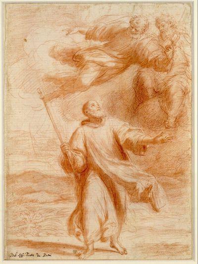 Ein heiliger Pilger auf den Betrachter zuschreitend, den Blick nach rechts oben gerichtet, wo der heilige Petrus und ein zweiter Heiliger ihm die Richtung weisen