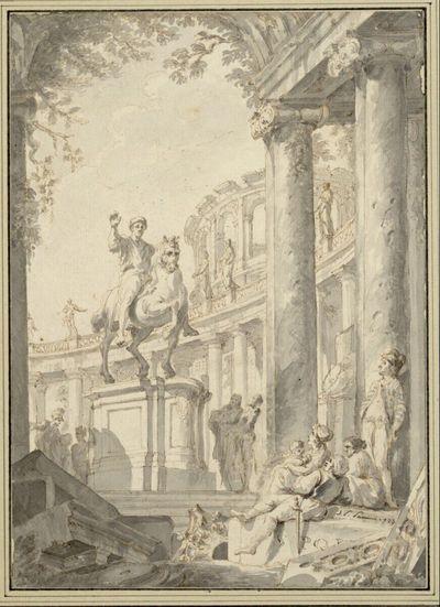 Die Statue des Marc Aurel mit Staffagefiguren und antikisierendem Säulenrundbau im Hintergrund