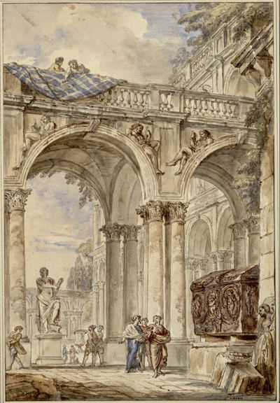 Kolonnadenhof eines Palastes mit der Statue eines sitzenden Apoll