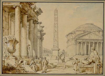 Römische Vedute mit einem Tempel mit ionischen Säulen, den Kolonnaden des Forum di Nerva, einem Obelisken, dem Pantheon und der Statue des Tiber sowie Staffagefiguren