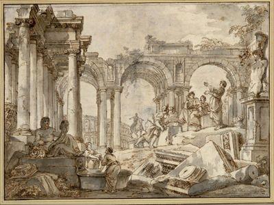 Amphitheater des Titus. (Links die Statue des Tibers; rechts erhöht ein rezitierender Schauspieler (?) vor antikisch gekleideten Zuhörern; im Hintergrund die Statue Marc Aurels und das Kolosseum)