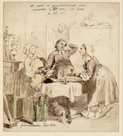 Humoristische Szene: Pfarrer mit zwei jungen Hausmädchen