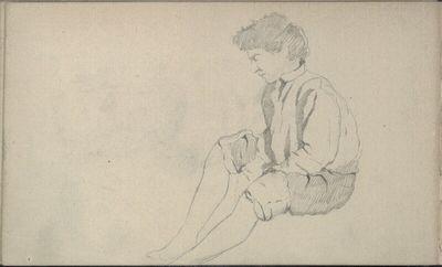 Studie eines sitzenden Burschen mit aufgekrempelten Hosen