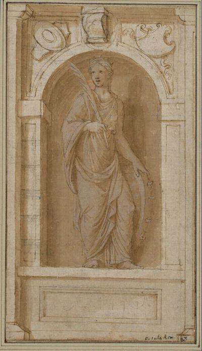Statue der heiligen Katharina in Vorderansicht in einer Nische stehend