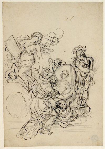 Verherrlichung eines Fürsten, dessen Porträt in einem Medaillon von einer knienden weiblichen Figur gehalten wird, symbolisiert durch die Allegorie der Geschichte links, Pallas Athene und Kronos
