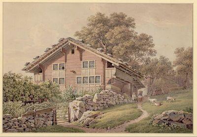 Berner Bauernhaus mit Ziegen