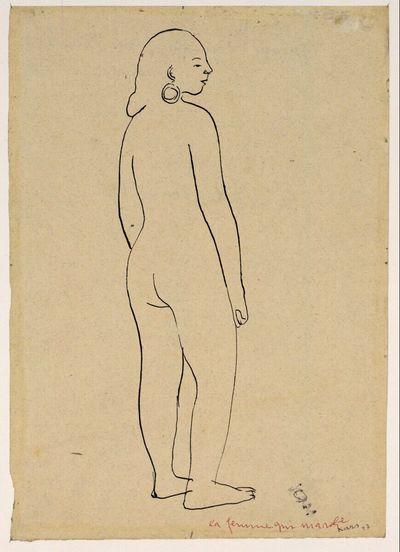 Nach rechts schreitender weiblicher Rückenakt