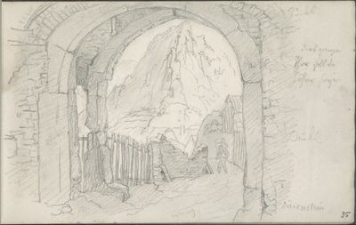 Das Tor der Ruine Dürnstein (mit Farbangaben)
