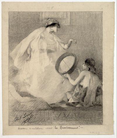 Tanzende Araberin mit zwei Begleiterinnen (Detailstudie für das Gemälde