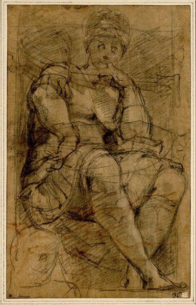 Studienblatt. (Ganze Figur der Statue des Lorenzo de'Medici vom Grabmal Michelangelos; links unten flüchtige Kopfskizze; Rückenakt und zwei Mantelfiguren, die mit der Studie nach der Grabmahlstatue überzeichnet ist)