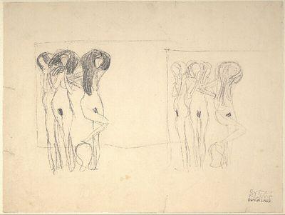 Zwei Kompositionsskizzen für Die drei Gorgonen im Beethovenfries