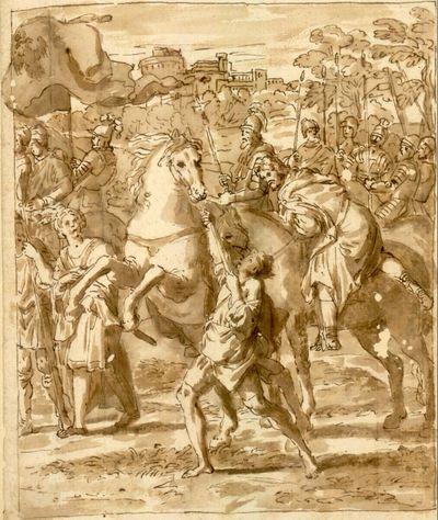 Ausschnitt (rechte Hälfte) aus der Begegnung des Hl. Nilus mit Kaiser Otto III. nach dem Fresko von Domenichino in der Cappella Farnese von S. Maria in Grottaferrata