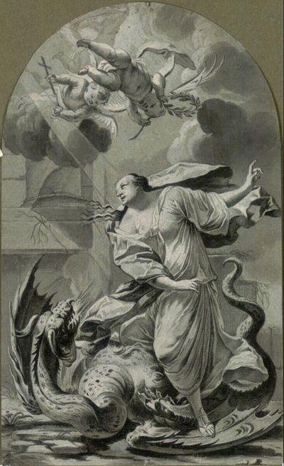Nachzeichnung nach dem 1639 datierten Stich von Michel Dorigny nach Simon Vouets Altarbild der Heiligen Margarete in der Kirche des 1798 zerstörten
