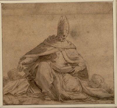 Sitzende Bischofsfigur mit geöffnetem Buch