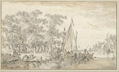 Baumreiches Ufer mit Figuren und Segelbooten