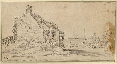 Verfallenes Haus und Figurengruppe, mit Blick auf einen Strand