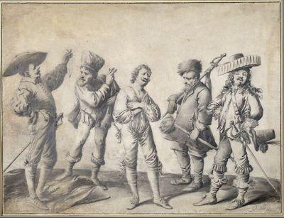 Halb entkleideter Verschwender zwischen vier Gläubigern