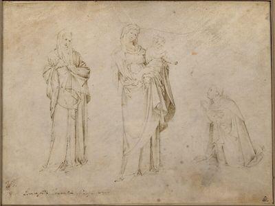Die Madonna mit dem Kind zwischen einer stehenden weiblichen Figur und einem knienden Stifter