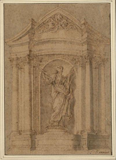 Statue der heiligen Barbara in einer Architektur