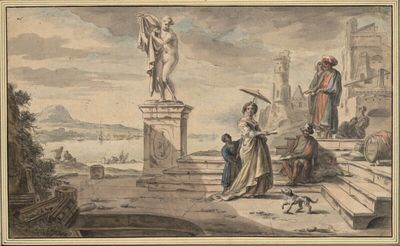 Südliche Hafenszene mit vornehmer Dame und antikischer Statue einer nackten Frau