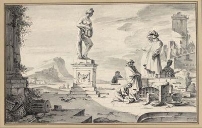 Südliche Hafenszene mit antiken Ruinen und weiblicher Statue