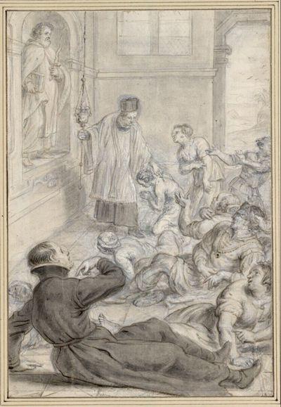 Pestkranke, darunter ein Jesuit, werden vor einer Statue des Elias geheilt (34)