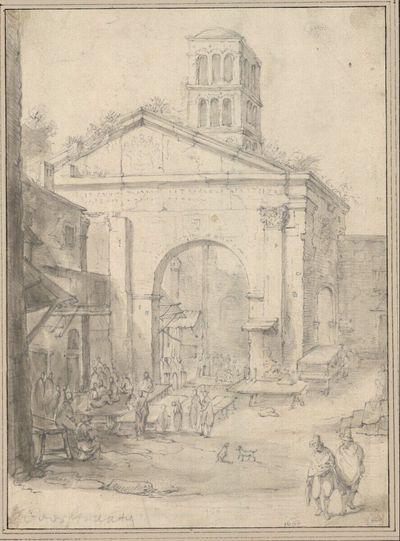 Der Portico di Ottavia in Rom, mit leeren Markttischen und wartenden Männern (Sa. Maria in Porticus, Fischmarkt)