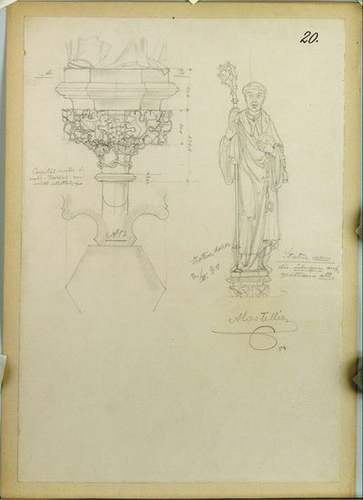 Wien, St. Stephan, Eligiuskapelle, Statue und Konsole, Grundriss, Aufriß