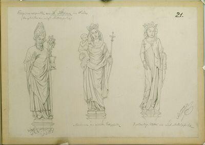 Wien, St. Stephan, Eligiuskapelle, 3 Statuen, Aufriß