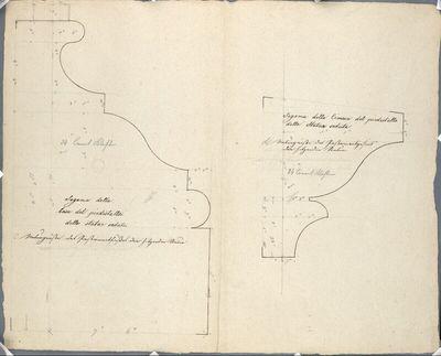 Wien I, Hofburg, Innerer Burghof, Kaiser Franz-Denkmal, Profile vom Postamentgesimse und des Postamentfußes der Sitzfiguren