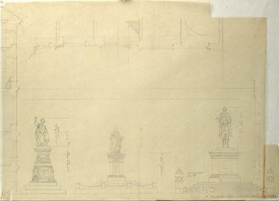 Wien I, Hofburg, Innerer Burghof, Kaiser Franz-Denkmal, Planpause bzw. Vorzeichnung zum