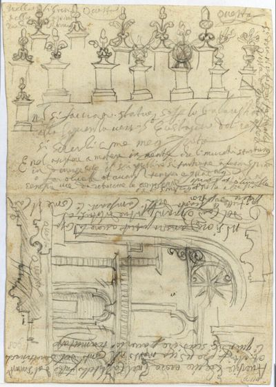 Rom, S.Ivo alla Sapienza, Detailstudien zu Postamenten und Gebälkformen