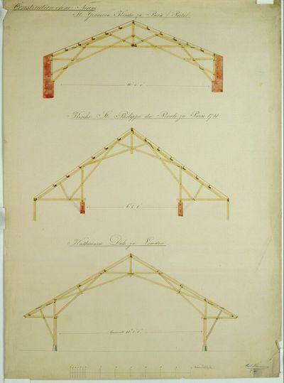 Paris, Ste-Geneviève und St-Philippe du Proule und London, St. Catherine's Docks, Dachstuhlkonstruktionen, Querschnitte
