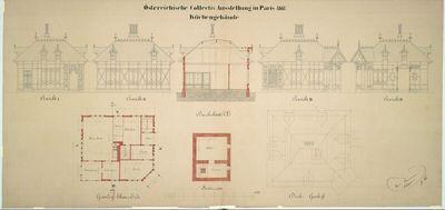 Paris, Weltausstellung 1867, Entwurf zur österreichischen Kollektivausstellung, Küchengebäude, Grundrisse, Aufrisse, Schnitt und Draufsicht