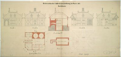Paris, Weltausstellung 1867, Entwurf zur österreichischen Kollektivausstellung, Backhaus, Grundrisse, Aufrisse, Schnitt und Draufsicht