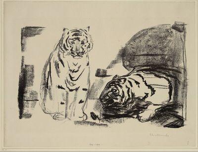 Sitzende und kriechende Tiger