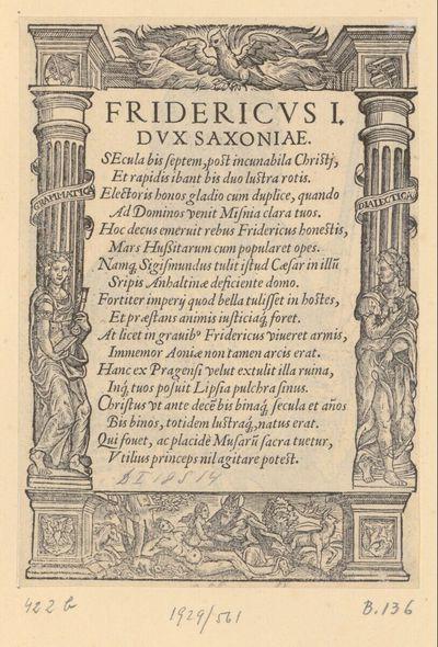 Text zum Bildnis von Friedrich I., Kurfürst von Sachsen