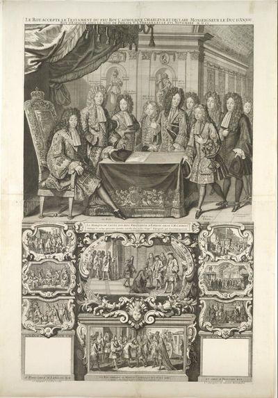 Kalenderblatt auf die Anerkennung des Testamentes des spanischen Königs Karl II. durch Ludwig XIV. zugunsten seines Enkels Herzog Philipp von Anjou (Philipp V.)