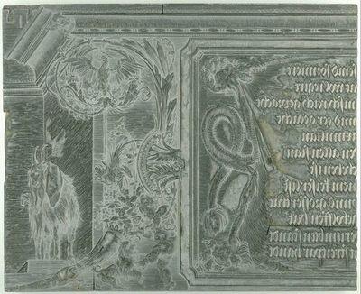 Die Ehrenpforte Kaiser Maximilians I.; C4 - Linker Giebel: Titulus, rechte Hälfte