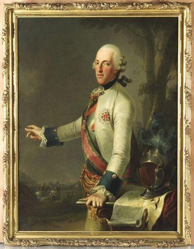Herzog Albert von Sachsen-Teschen mit dem Plan der Schlacht von Maxen