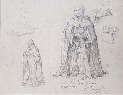 Studien für die Ausstattung der Chapelle des Dominicains, Paris 1879: Eine Heilige und ein Heiliger, eine Fuß- und zwei Handstudien