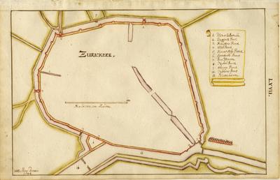 Zierikzee. Plattegrond van de vestingswerken, waarop aangegeven de stadsmuren, poorten, grachten en toeleidende wegen. De Zuidhavenpoort is aangeduid als 'Visschers poort', de Hoofdpoort als 'Schutterspoort'. De Bagijnenpoort, die in 1622 is afgebroken, staat op deze kaart. Deze plattegrond is gepubliceerd in de Vestingatlas van Johann Merck.