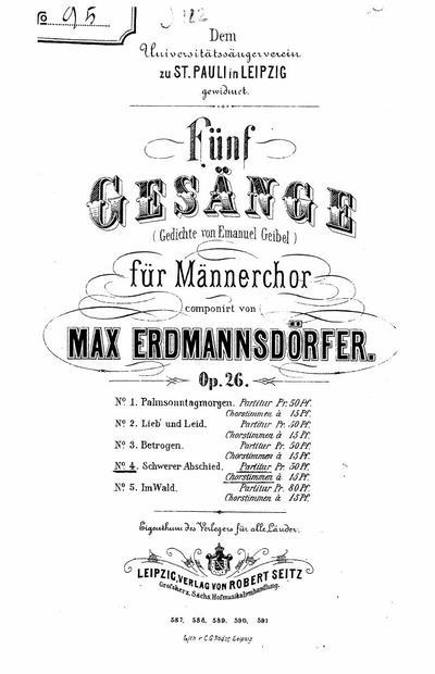 Omnia Funf Gesange Fur Mannerchor Op 26 Nn 1 5