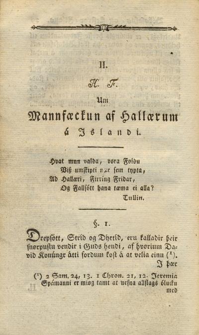 Um mannfækkun af hallærum á Íslandi
